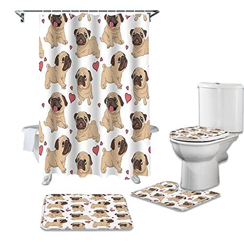 YCDtop Mops Niedliches Herz H& Cartoon Print Duschvorhang Wasserdichter Badezimmervorhang Toilettenbezug Matte rutschfeste Teppich Set Badewanne Dekor 180x180cm (71x71in)