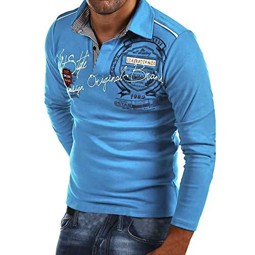 Celucke Langarm Polohemd Herren Poloshirt Besticken Mit Coole Print, Männer T-Shirt Polo Hemd Basic Shirt Freizeit Polohemden Langarmhemd Herrenhemden Sweatshirt Langarmshirt (Blau, XL)