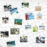 Cizen Red de Pesca Decoraciones de Pared para Fotos con 30 Clips, Tarjeta Postal Organizador de Fotos para Náutico Dormitorio Decoración de Navidad