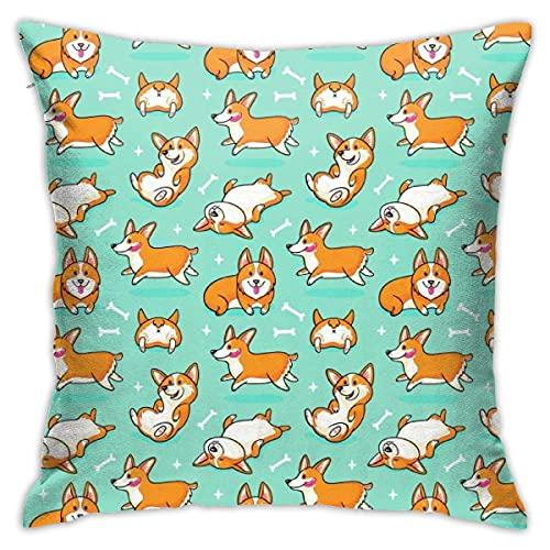 TaiLanQu Corgi Cute Dog Printed Cojín Funda de Almohada Decoración del Hogar Dormitorio Coche Sofá Funda de Almohada Size18X18Inches 45X45CM