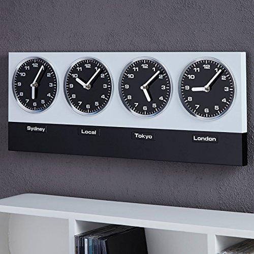 Design Delights Horloge murale moderne mondiale avec 4 horloges et aimants Argenté/noir