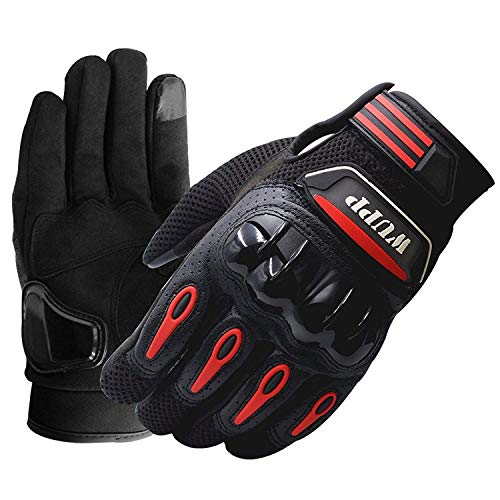 Racing Motorcycle Atv Full Leather Riding Armored Gloves Finger Fashion...