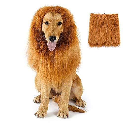 Melena de león para perro, disfraces de Halloween, trajes de perro, melena de león, peluca de melena de león para perro, disfraz de Halloween para mascotas (marrón claro)