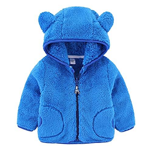 Sudadera con capucha para bebé con forro polar, con cremallera completa, unisex, para niños y niñas, de invierno, cálida, de felpa, con orejas de oso, gruesa ropa informal de manga larga