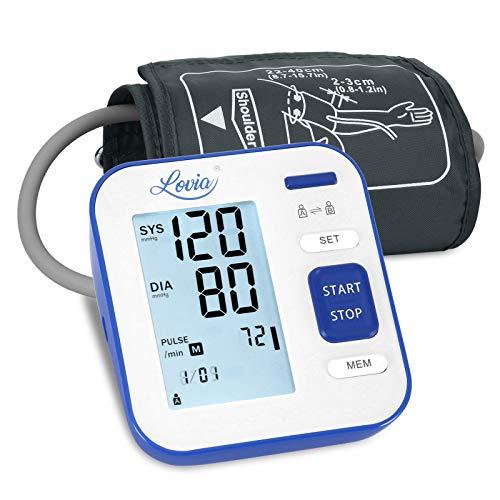 Lovia - Medidor de presión sanguínea de brazo, tensiómetro electrónico de brazo, medición de presión arterial y frecuencia cardíaca, gran pantalla LCD, 240 memorias, azul