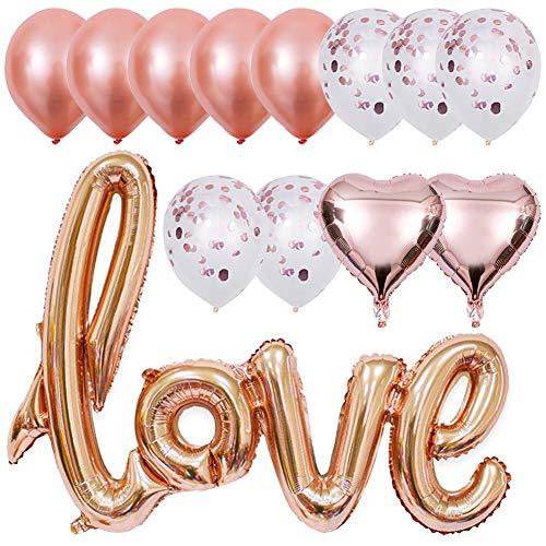 INTVN Roségold Luftballon Love Luftballons Folienballon Herz Ballon Latex Luftballons Konfetti Hochzeit Ballons für Geburtstag Brautdusche Party Dekoration 13 Stück