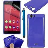 ebestStar - Funda Compatible con Wiko Pulp 4G Carcasa Transparente Silicona Gel Estuche Flexible + Lápiz, Azul Oscuro [Aparato: 143.9 x 72 x 8.8mm, 5.0'']