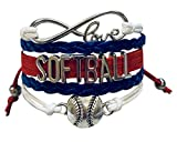 Softball Infinity Charm Bracelet- Softball Jewelry - Perfect Softball Player, Team and Coaches Gifts (Red/White/Blue)