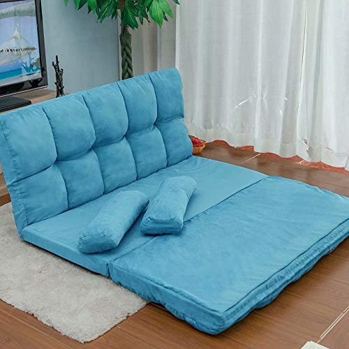 HSTFⓇ Double Chaise Lounge Sofa Floor Couch and Sofa Folding Floor Chair Meditation Bench Lounge Chair with Two Pillows Lazy Lounge Chair,(Blue)