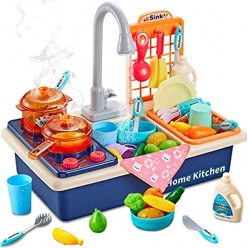 Giocattoli da cucina per bambini, lavello da cucina, con stufa da cucina, utensili da cucina, accessori per bambini e bambini, set da gioco con acqua corrente, regalo per ragazze e ragazzi