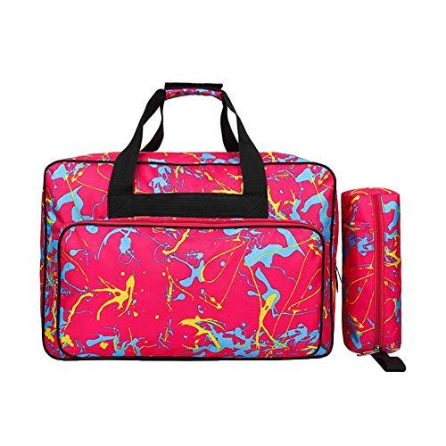 Sac fourre-tout de voyage rembourré pour machine à coudre avec poches et poignées + sacs à outils (Rouge)