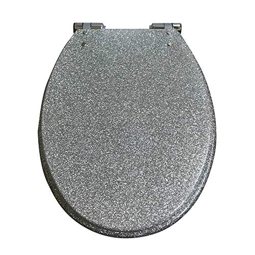 WC-Sitz mit Absenkautomatik, mit Pufferschalen-Deckel, WC-Sitz für alle Badezimmer silber