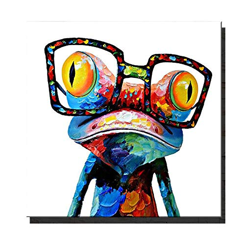 Animal Canvas Wall Art Waltsom Happy Frog Framed Oil Painting Modern Wall Art For Living Room Bedroom Office Bathroom Stretched Ready To Hang Animal Print 16x16inch Buy Online In Guam At Guam Desertcart Com