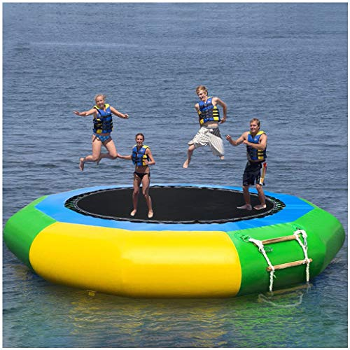 Inflatable Water Trampoline, Mosunx Splash Padded Water Bouncer Inflatable Bouncer Jump Water Trampoline Bounce Swim Platform for Water Sports (Multicolor, 10 Foot)