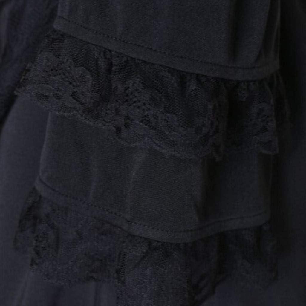 Auiyut Steampunk Damen Mantel Gothic Long Coat Frauen Vintage Langärmelige Taille Rücken Bandage Lace Stitching Jacke Retro Eleganter Smoking-Blazer Uniform Outwear B-schwarz