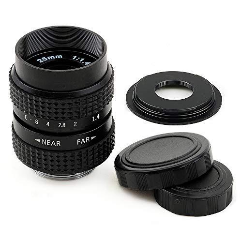 Pixco 25 mm F1.4 CCTV lente C montaje cámara + 16 mm C montaje lente de película a Micro cuatro tercios 4/3 cámara lente adaptador lente kit (25 mm F1.4 para C+ C-M4/3)
