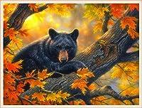 クロスステッチ 大人のためのクロスステッチキット カエデの木に黒いクマ 40x50cm 11CT番号別刺繍キット手作りキットパンチ針刺繍DIY初心者向け手作りスターターキット