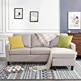 JY QAQA Convertible Sectional Sofa Couch with 3-Seat Sofa, L-Shaped Ottoman...