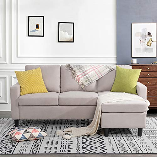 JY QAQA Convertible Sectional Sofa Couch with Reversible Chaise, L-Shaped Couch with Modern Linen Fabric for Small Space (Beige)