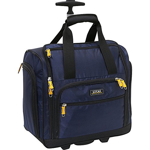 Lucas Cabin Luggage Collection - Small Lightweight 16 Inch Under Seat Bag - Garment Briefcase for Women - Carry On Suitcase with 2- Rolling Spinner Wheels (Blue)