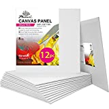 PHOENIX Artist Painting Canvas Panels - 6x6 Inch / 12 Pack - Triple Primed Cotton Canvas Boards for Oil & Acrylic Painting