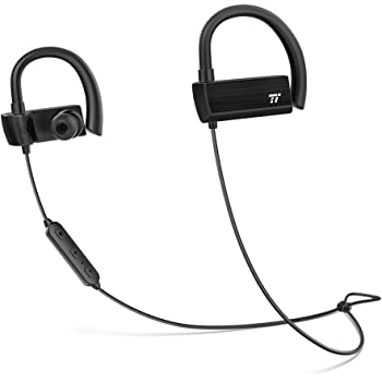 TaoTronics Bluetooth Headphones, Wireless In Ear Earbuds, Sports Earphones with 360° Adjustable Earhooks (15 Hour Playtime, aptX Lossless Sound and cVc 6.0 Noise Cancelling Mic, IPX5 Sweat Proof)