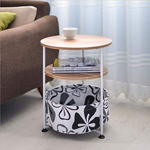 YVX Small Side Table, Round Creative Simple Side Living Room Phone Several Mobile Sofas Notebook Table Bedside Table Small Coffee Table (Color : Log Color, Size : 53cm)