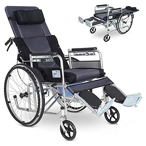 JW-YZWJ Silla de Transporte Plegable, cojín Desmontable con reclinable Ligero volteado hacia atrás con Columpio elevando Las Pantalones de Seguridad, sillón de la Inodoro Plegable