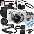 Sony Alpha a6000 (White) Mirrorless Digital Camera with 16-50mm Lens + 32GB Card, Tripod, Case, and More (18pc Bundle) by Sony intl