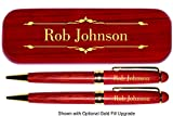 Dayspring Pens   Personalized Deluxe Rosewood Pen and Pencil Set with Case. Engraved Wood Gift for Men or Women.
