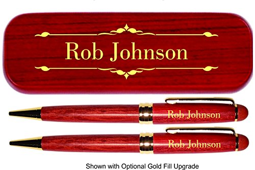 Dayspring Pens | Personalized Deluxe Rosewood Pen and Pencil Set with Case. Engraved Wood Gift for Men or Women.