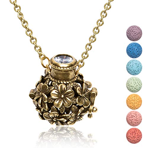 Kayder Essential Oil Diffuser Flower Ball Filigree Locket Aromatherapy Pendant Necklace with 7 Color Chakra Lava Rock Bead Inserts, Retro Bronze Yoga Necklace for Women Girls, 20' to 22' Adjustable
