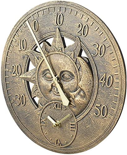 SLQX Reloj De Pared Retro Grande De Jardín Al Aire Libre Reloj Termómetro De 12 Pulgadas Decoración Retro para Colgar En La Pared Decoración Interior Impermeable para El Hogar