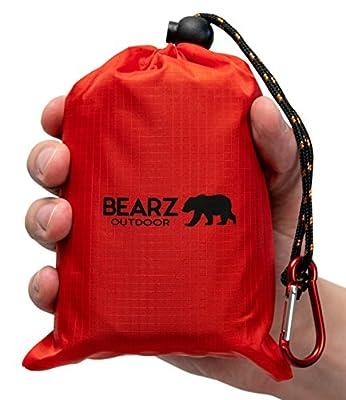 BEARZ Outdoor Beach Blanket, Waterproof Picnic Blanket 55?x60? - Lightweight Camping Tarp, Compact Pocket Blanket, Festival Gear, Sand Proof Mat for Travel, Hiking, Sports - Packable w/Bag