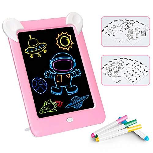 Febelle Tableta de Escritura LCD para niños,Juguete de Tablero Tablero de Escritura de 10 Pulgadas|3D LED Luminoso Magic Drawing Pad Toys, Bloc de Notas de Dibujo borrable (Rosa)
