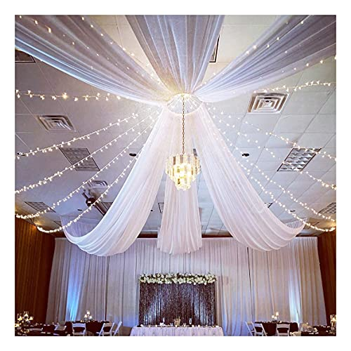 White Chiffon Ceiling Panels 6 Panels 5ftx10ft Wedding Arch Drapes Fabric Sheer Curtains Draping for Ceremony Reception Swag Decoration