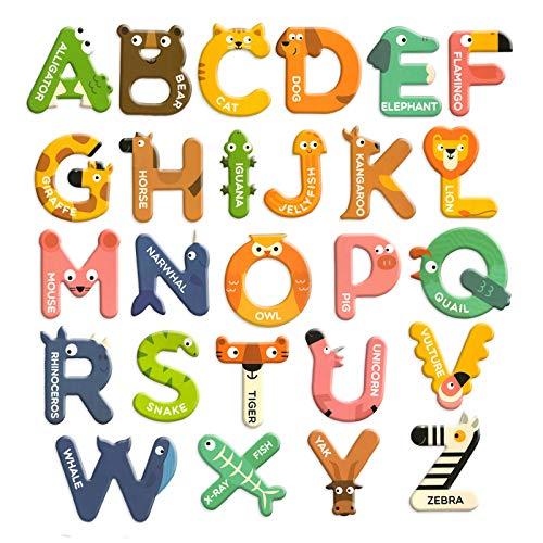 Libershine 26 Piezas Juego de Letras Magnéticos, Imanes de Nevera Palo Papel Colorido Alfabeto ABC Juego de Juguetes en Mayúsculas Preescolar Aprendizaje Ortografía