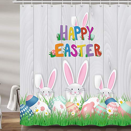 JAWO Easter Shower Curtain for Bathroom, Cute Bunny Rabbit and Easter Eggs Fabric Holiday Shower Curtains Set, Grey Wooden Planks Bathroom Accessories Decor, Hooks Included (69W X 72H)
