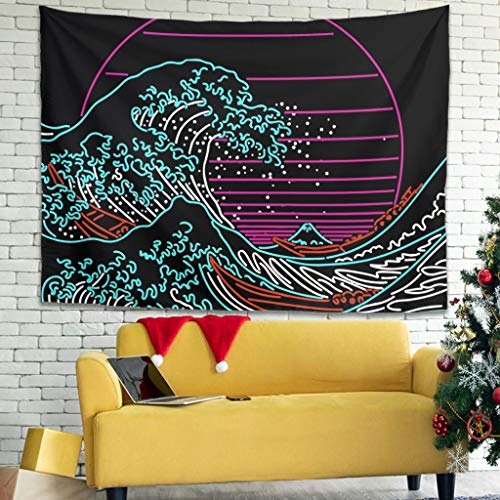 Rcenyi Great Neon Wave Print Wall Art Tapestries Fashion Yoga Blanket Exclusive - Ukiyoe for Apartment Decorate White 79x59 inch