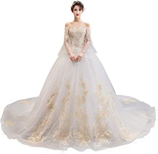 Bride Wedding Dress Formal Party Trumpet Sleeve Prom Gown Lace Chiffon Trailing Skirt beautiful