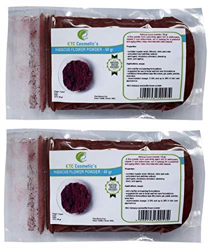 Flor de hibisco en polvo - 100 gr - uso en formulaciones para el cuidado de la piel y el cabello - 100% natural