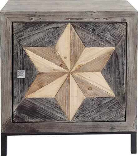 Kare Design Kommode Starry 1 Tür, kleines, schmales Nachtkästchen mit 1 Türe aus Echtholz, braun mit extravagantem Sternmuster an der Schrank Front, Handgearbeitet, (H/B/T) 65x60x38cm
