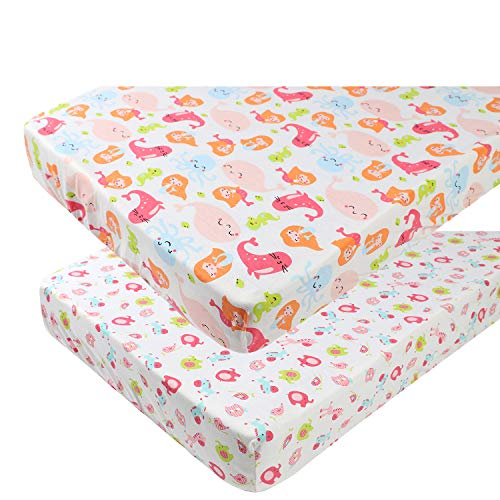 Best Deals! Pack n Play Playard Sheet Set 2 Pack 100% Jersey Knit Cotton Ultra Soft and Stretchy Por...