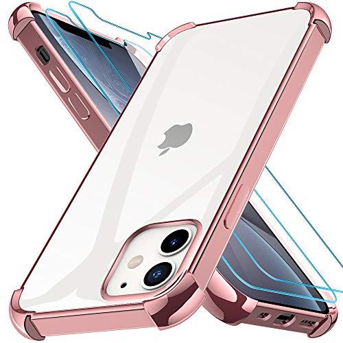Kensou Cover per iPhone 12, Cover per iPhone 12 PRO con 2 Vetro Temperato, Assorbimento degli Urti e Ultra Sottile Custodia per iPhone 12, Custodia per iPhone 12 PRO - 6.1 Pollici Rosa