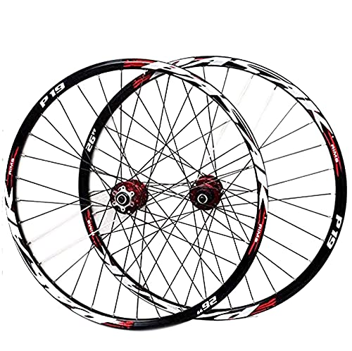 DBXOKK Montaña Juego De Ruedas, 26/27.5/29 Pulgadas Rueda De Bicicleta Llanta MTB De Aleación Aluminio De Doble Pared Lanzamiento Rápido Freno De Disco 7-11 Velocidad 32H#3,26in