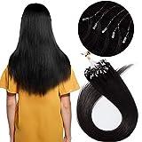 16'(40cm) Micro Ring Extensiones de Cabello Natural sin Clip [0.5g*100mechas] #1 Negro 100% Remy Pelo Humano Extensiones Queratina Micro Loop Human Hair Extensions (50g)