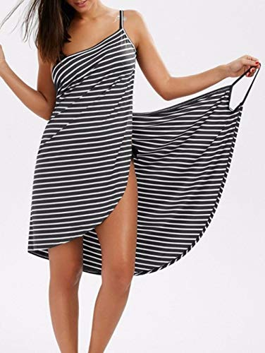 BSSDG Bikini Cover up,Costumi da Bagno Estivi da Spiaggia Copricostume a Righe Sling Backless Sciarpa Tunica Avvolgente Sarong Abito Lungo Costume da Bagno, Nero, S