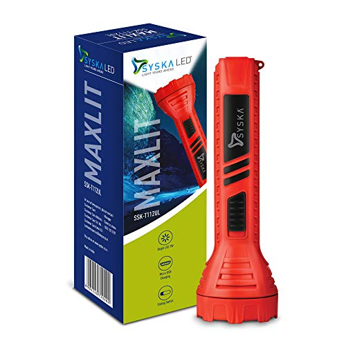 SYSKA T112UL MAXLIT 1W Bright Led Rechargeable Torch (Red)