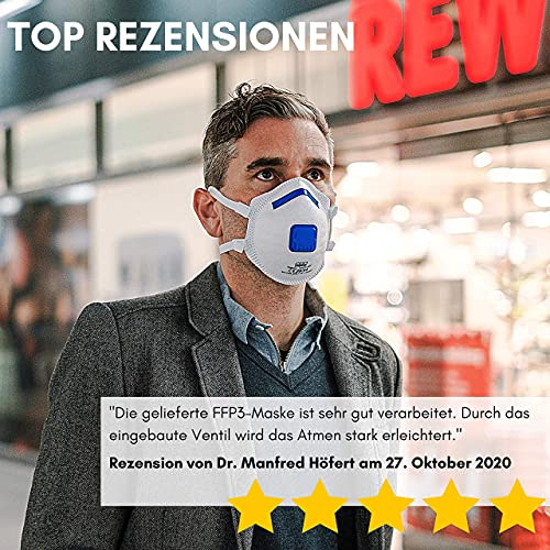 VEVOX® FFP3 Masken *NEU* – Im 5er Set – mit Komfort Plus Abdichtung – Atemschutzmaske FFP3 mit Ventil – CE Zertifiziert für den zuverlässigsten Schutz - 6