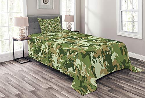 ABAKUHAUS Frosch Tagesdecke Set, Schädel Camouflage Design, Set mit Kissenbezügen Sommerdecke, für Einselbetten 170 x 220 cm, Grün